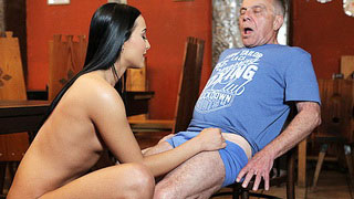 Old Dude Almost Got A Heart Attack When Hot Brunette Took Off His Pants